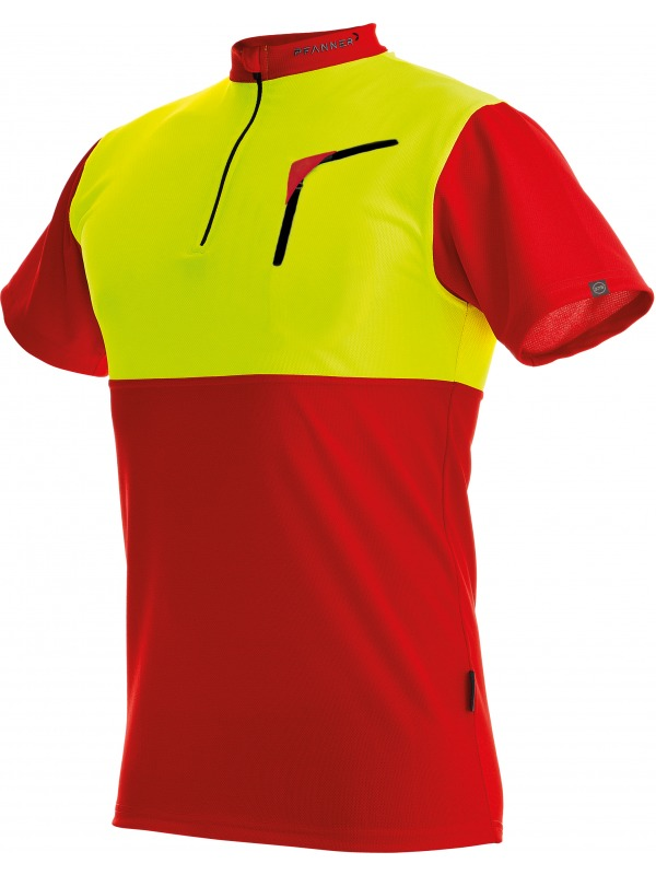 Pfanner Zip-Neck Funktions-Shirt mit Reissverschluss, kurzarm, 104059, rot-gelb