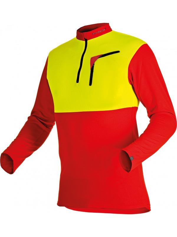 Pfanner Zip-Neck Funktions-Shirt mit Reissverschluss, langarm, 104060, rot-gelb